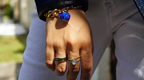 Electric Blue, White Skinny Jeans, Playful & Snazzy Deep in Love Bracelet, Handmade Jewelry, Chunky Crystal Bracelet, Swarovski, Lovisa Stack Rings, Loose Curls, White and Blue outfit