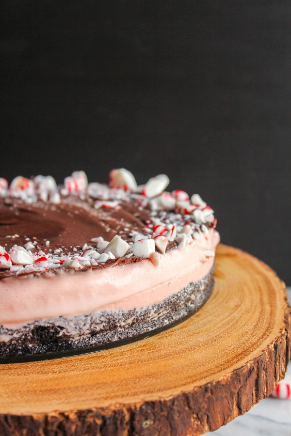 This Chocolate Peppermint Stick Ice Cream Cake is the perfect combination of a chocolate crust, creamy peppermint ice cream and crunchy peppermint pieces to make one delightful holiday dessert!