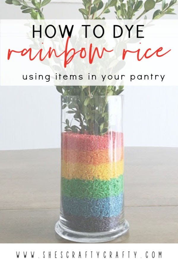 How to dye rainbow rice with items in your pantry  |  Color rice in rainbow colors for a fun table centerpiece  |  She's Crafty