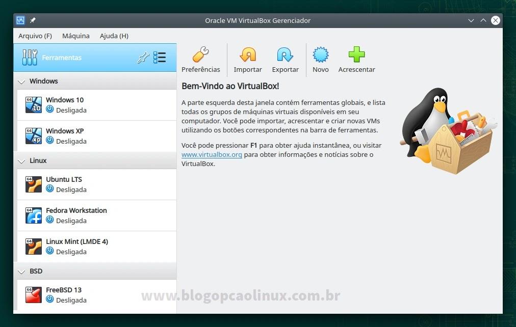 Oracle VM VirtualBox executando no openSUSE Leap 15.3