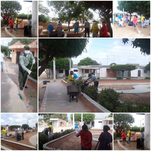 Policía adelantó Jornada de embellecimiento en el parque Paraíso de Maicao