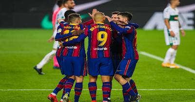 Barcelona and Elche match in the Spanish League competition