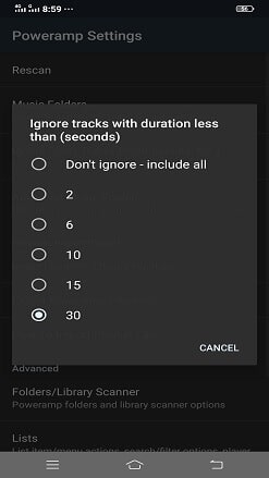 ignore tracks duration