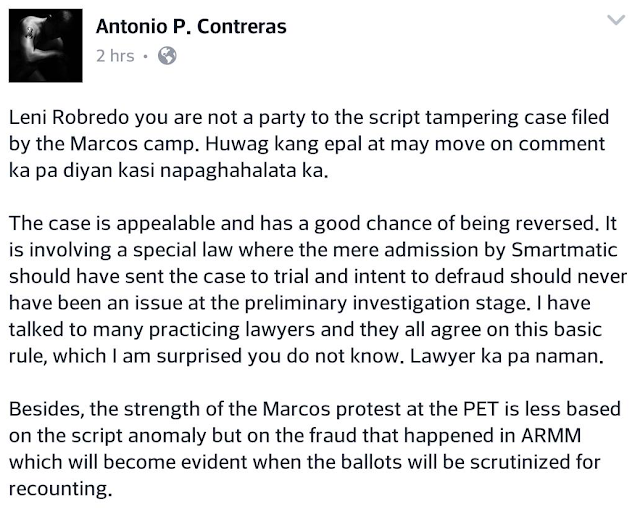 Prominent political analyst to Robredo: Marcos case had legal grounds, 'wag ka'ng epal
