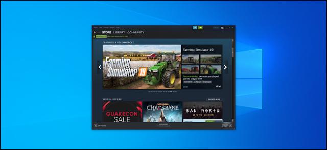 نافذة Steam تعرض المتجر على سطح مكتب Windows 10