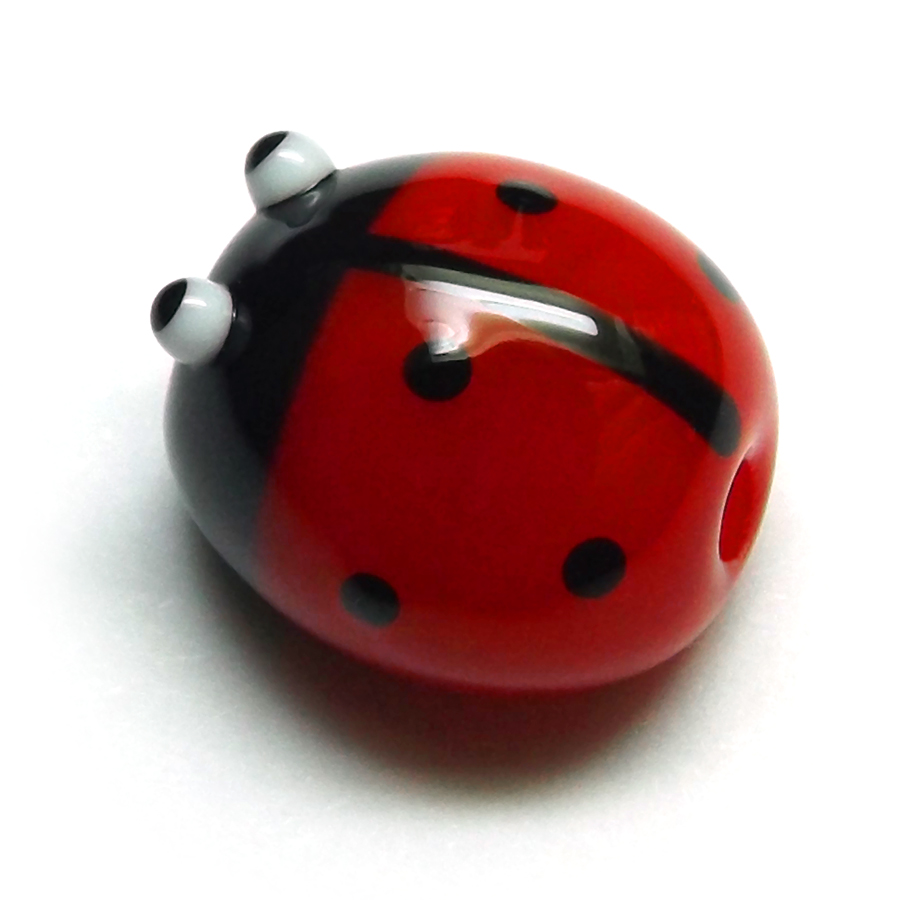 Lampwork glass ladybird (ladybug) bead by Laura Sparling