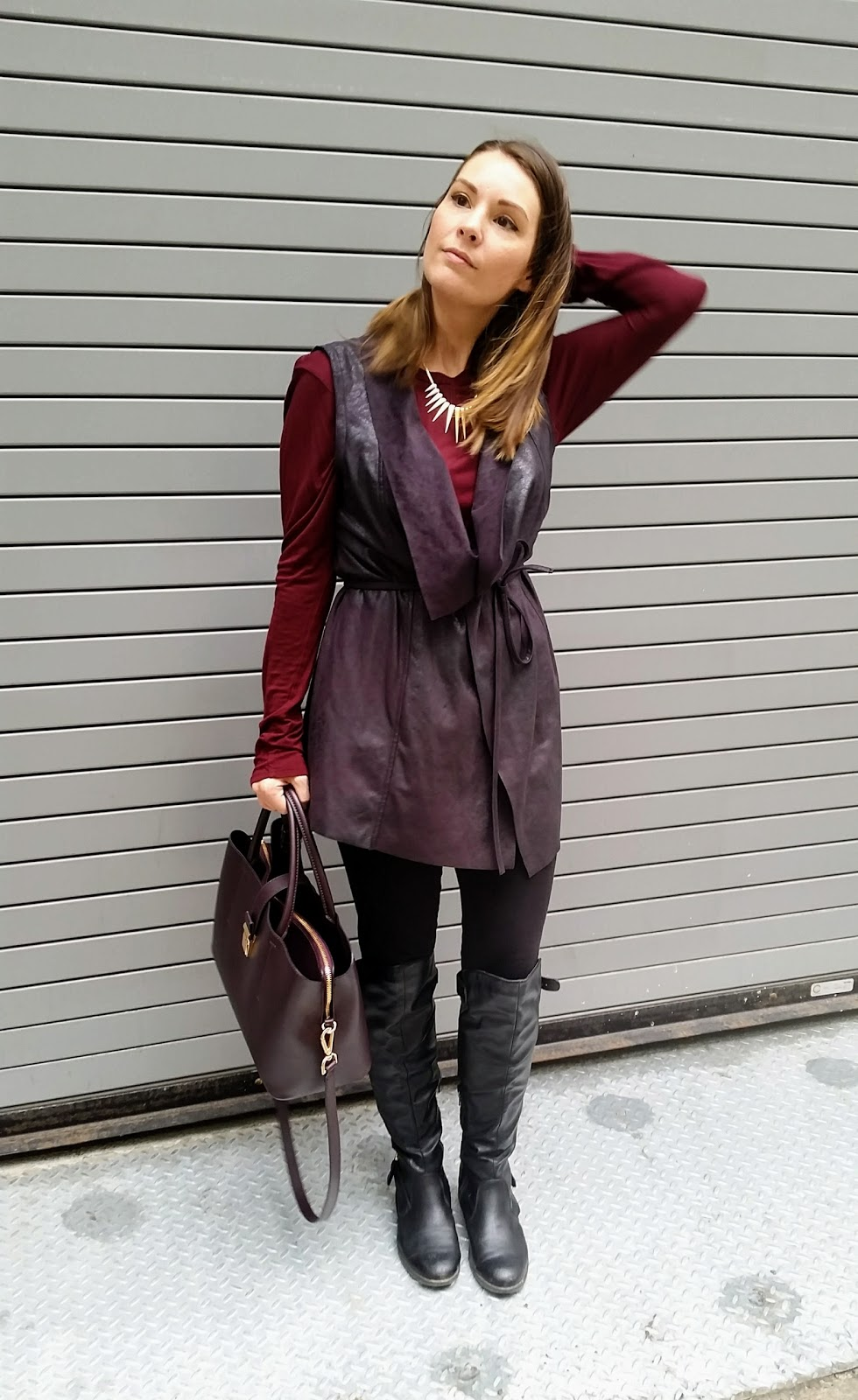 Suede vest and over the knee boots