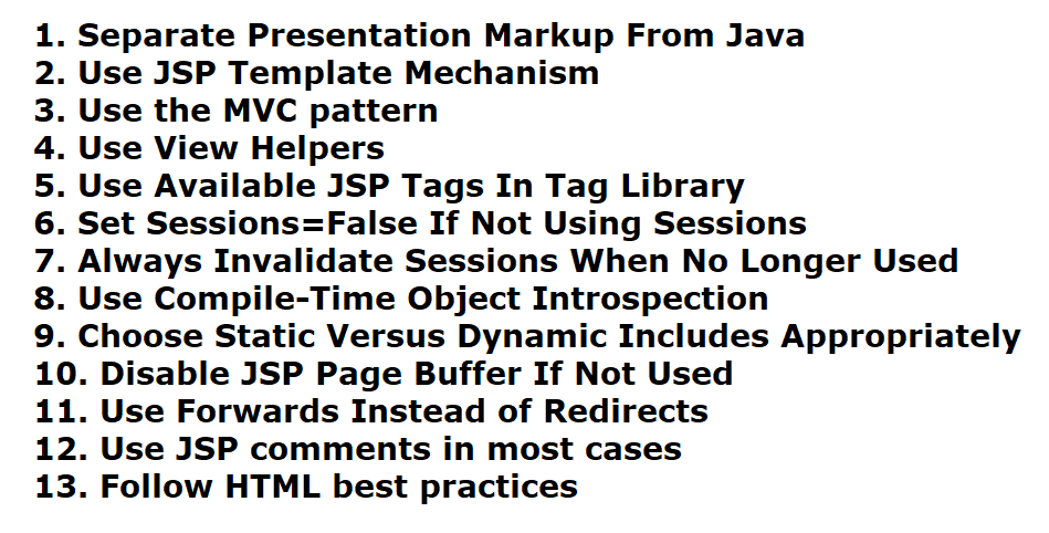 JSP Best Practices