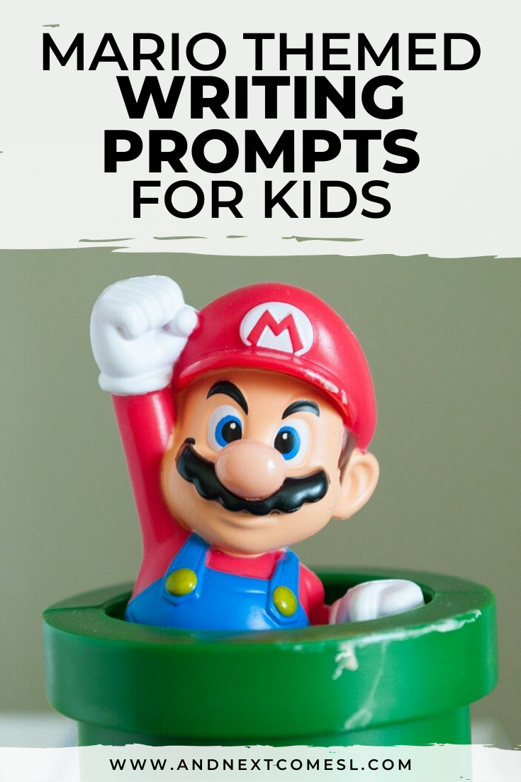 Mario themed writing prompts for kids - includes a free printable!
