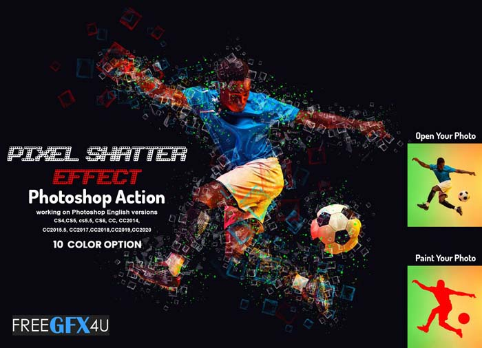 Pixel Shatter Effect PS Action