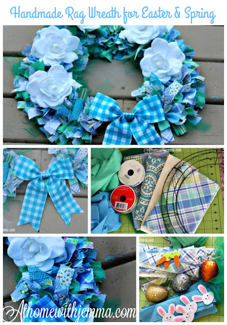 floral, rags, handmade, wreath, tutorial, athomewithjemma.com