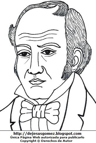 Imagen de Simón Rodríguez para colorear pintar imprimir. Dibujo de Simón Rodríguez de Jesus Gómez