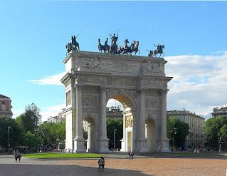 Luigi Cagnola's Arch of Peace marks the historic entrance to Milan at Porta Sempione