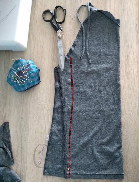 jak uszyć top wiązany na szyi DIY z męskiego t-shirtu - Adzik tworzy