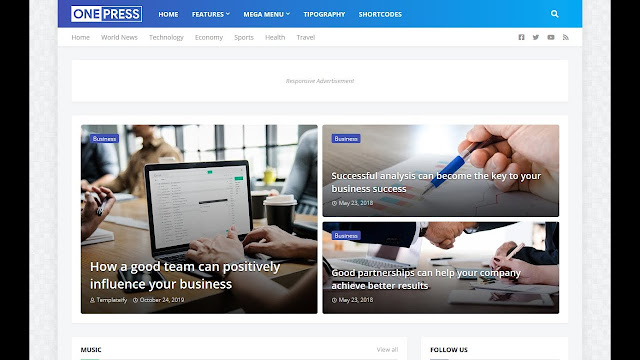 OnePress blogger template download with free