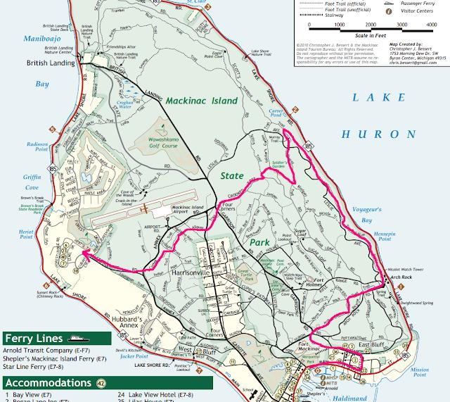 Day 1 Hiking Map Mackinac Island
