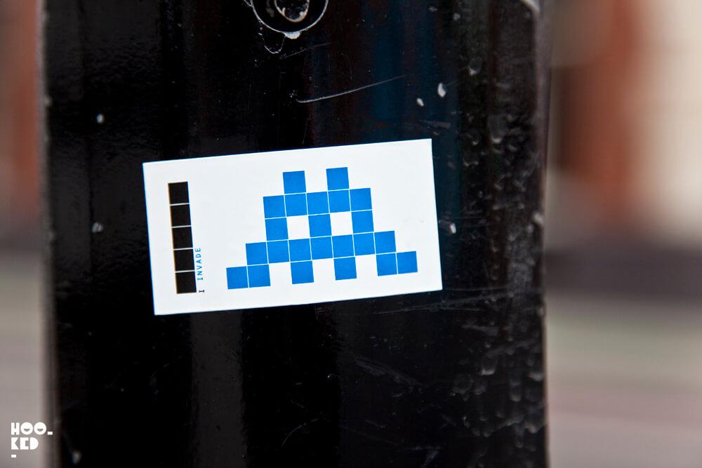 Shoreditch Street Art sticker by French street artist Invader