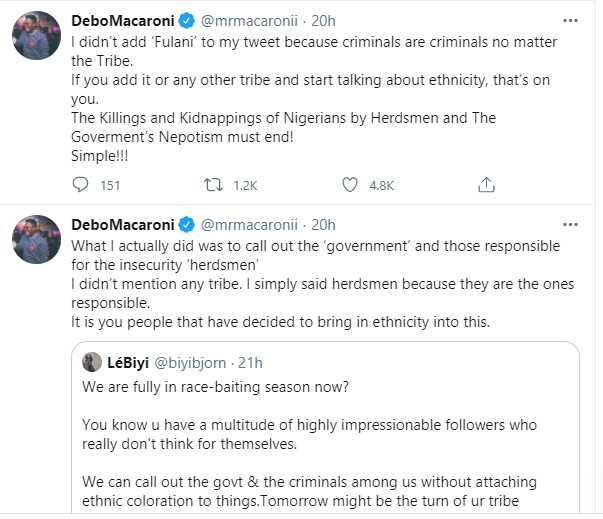 Government of the herdsmen by the herdsmen and for the herdsmen, Buhari should be President for all - Mr Macaroni says
