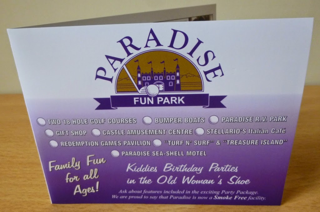 The Paradise Fun Park mini-golf scorecard