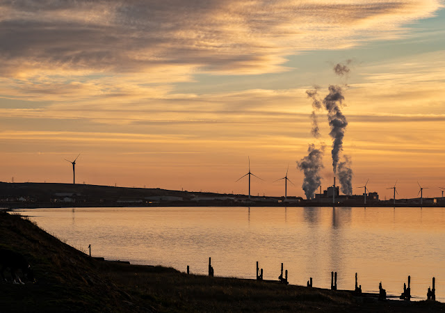 Photo of the paperboard factory at Workington reflected in the Solway Firth at sunset on Wednesday