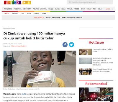 Harga telur zimbabwe mencapai 1 milyar