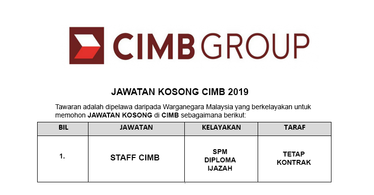 Jawatan Kosong di CIMB Group - Pelbagai Jawatan / Seluruh Negara