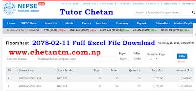Nepal Stock Exchange Ltd.  Floor Sheet 2078-02-11