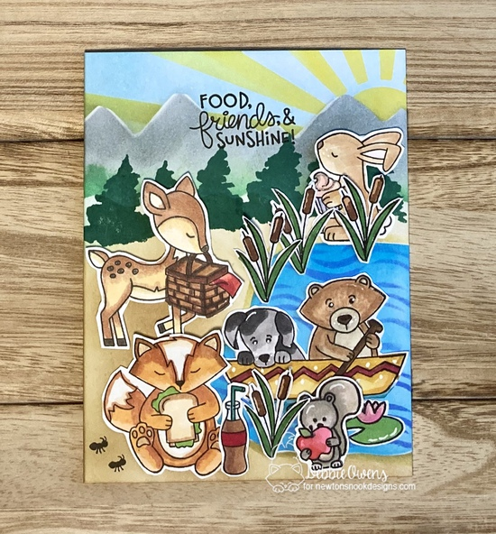 Food, friends, & sunshine by Debbie features Woodland Picnic, Winston's Lake House, Whispering Pines, Waves, Mountains, and Sunscape by Newton's Nook Designs; #newtonsnook