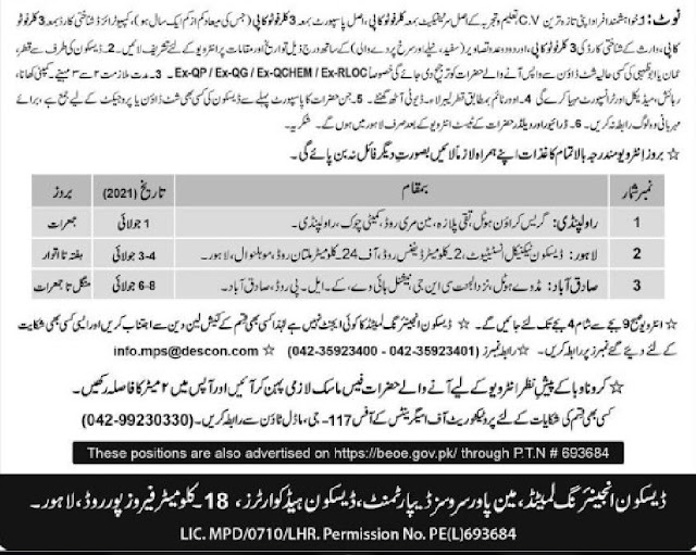 Descon Jobs Advertisement in Pakistan 2021 Latest  Descon jobs