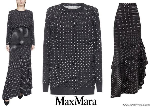 Swedish Princess Sofia wore Max Mara polka-dot jumper and Navata polka-dot and floral silk crepe de-chine maxi skirt