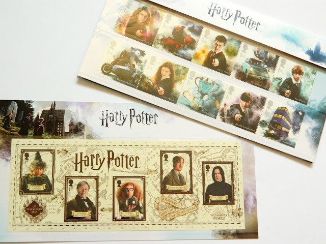 A photo showing a set of Harry Potter stamps