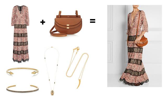 Сочетание  платья и сумки в стиле богемный шик