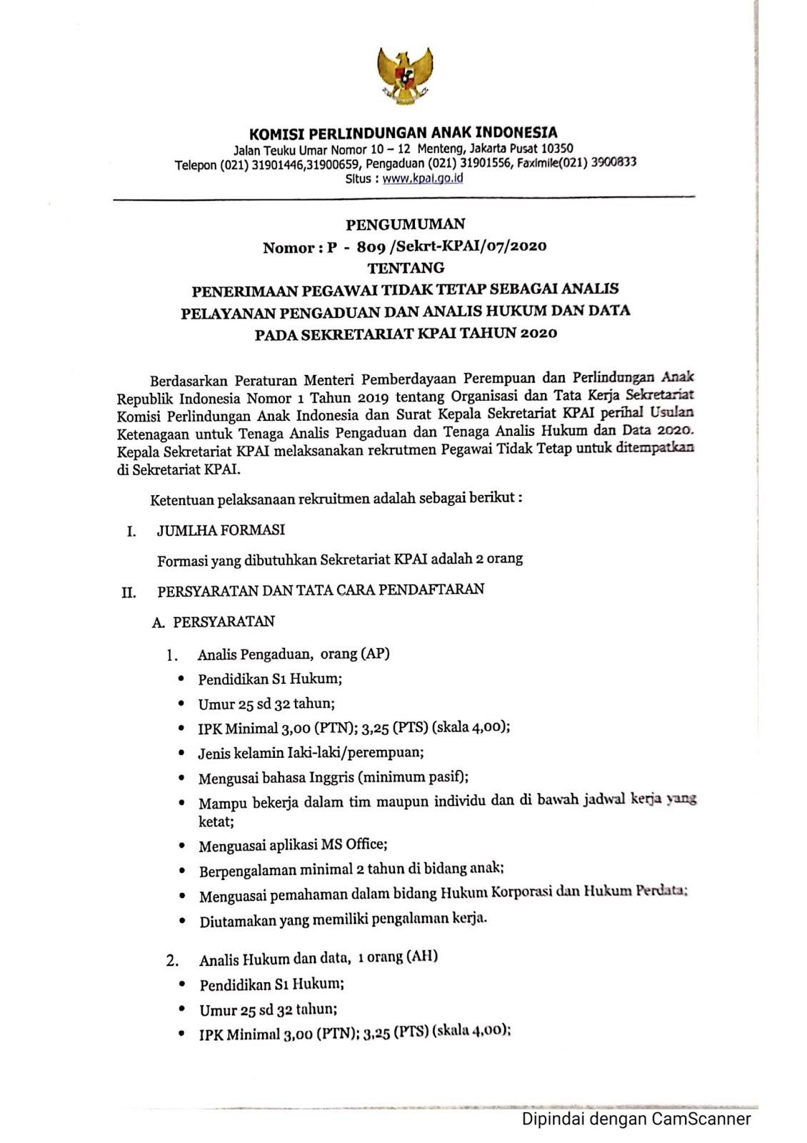 Penerimaan Pegawai Tidak Tetap Komisi Perlindungan Anak Indonesia Juli 2020