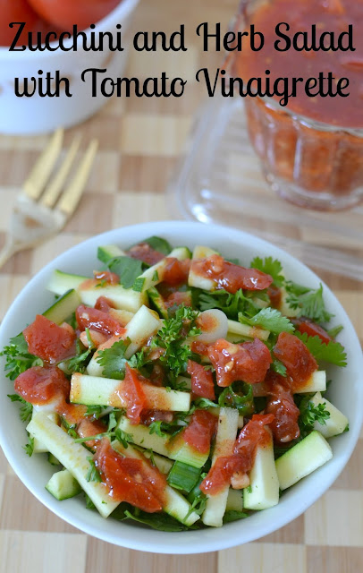 Zucchini and Herb Salad with Tomato Garlic Vinaigrette Recipe from Hot Eats and Cool Reads! A fresh, delicious and healthy salad that's great as a side, or a meatless main dish. Perfect for spring or summer picnics and barbecues!