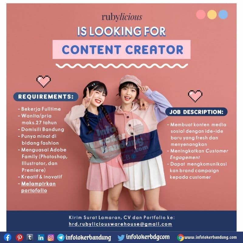 Lowongan Kerja Content Creator Rubylicious Bandung Juli 2021
