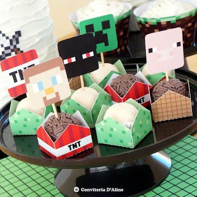 minecraft festa topper forminha topo personalizado
