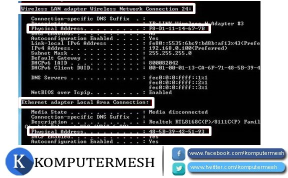 Cara Melihat Mac Address di Windows 7, 8 dan 10