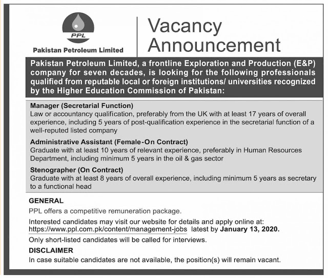 Pakistan Pertroleum Limited PPL Jobs 2020
