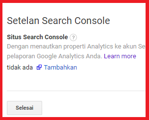 Klik tambahkan search console