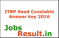 ITBP Head Constable Answer key 2016