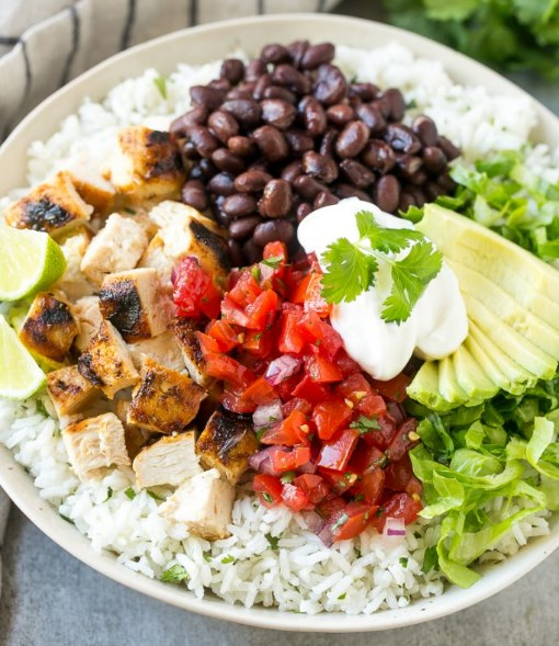 BURRITO BOWLS WITH CHICKEN #Lowcarb #Healthy