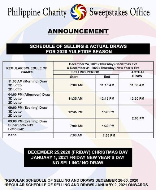 PCSO lotto draw schedule for 2020 Christmas holidays, New Year