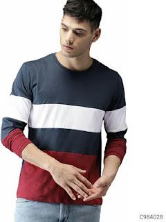 Cotton Striped/Color Block T-Shirt