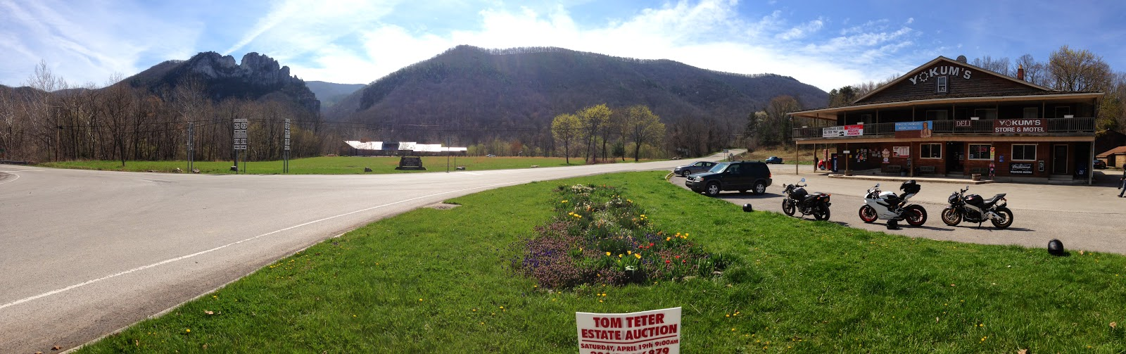Ducati 899 Panigale, Tigho's Monster, Aprilia Tuono V4R motorcycles in front Seneca Rocks West Virginia panorama