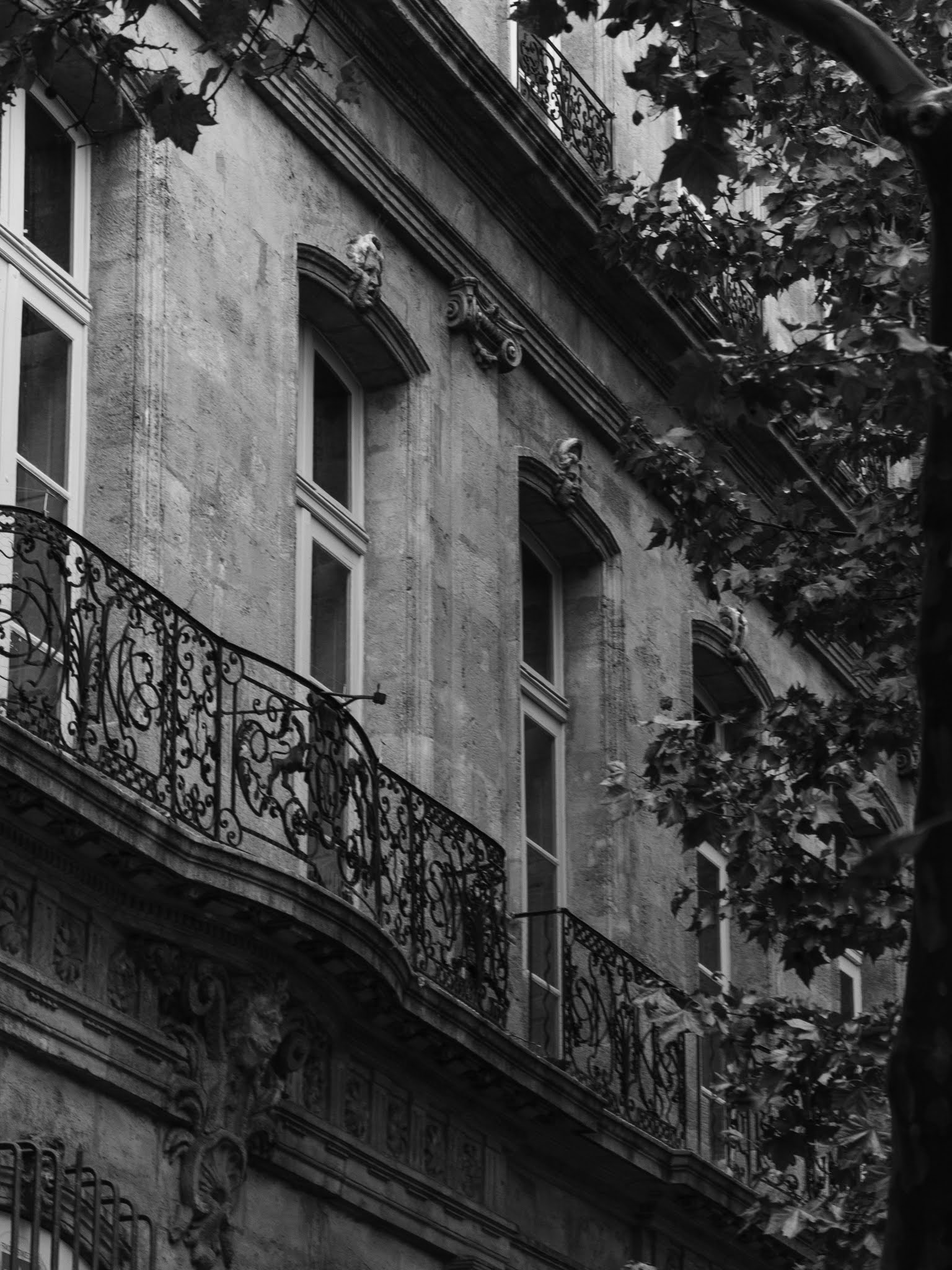 Decorative iron balconies and tall windows in Aix-en-Provence.