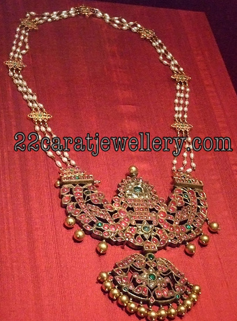 Traditional Temple Jewellery With Basara Pearls Haram
