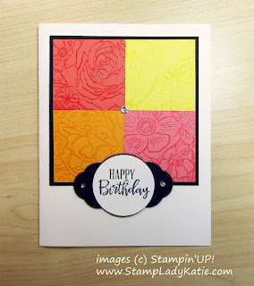Card made with Stampin'UP!'s Breathtaking Bouquet stamp with the image perfectly lined up across 4 card pieces
