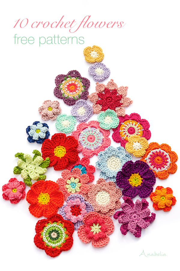 10  Crochet Flowers  free patterns, Anabelia Craft Design