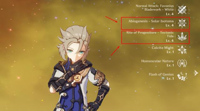 talent albedo genshin Impact