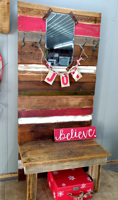 rustic reclaimed hall tree and bench